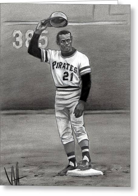 Clemente Art Drawings Greeting Cards - Mr. 3000 Greeting Card by William Western