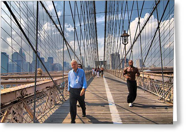 Walkers and Joggers on the Brooklyn Bridge Greeting Card by Amy Cicconi