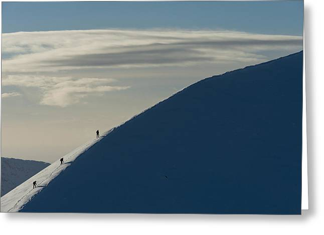 Wintry Photographs Greeting Cards - Walkers Climbing Snowy Ridge Of Sgorr Greeting Card by Ian Cumming