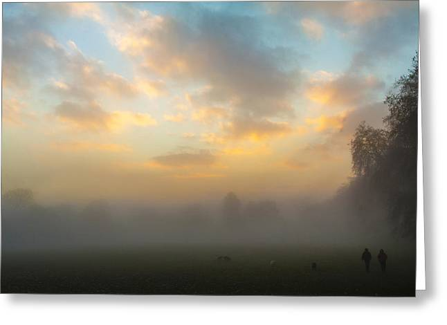 Dogwalker Greeting Cards - Walkers in the Fog Greeting Card by Matthew Bruce