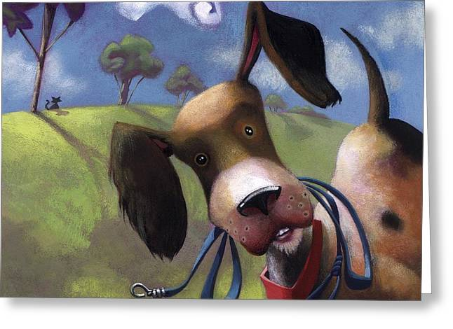 Mutt Greeting Cards - Walkies? Greeting Card by Barbara Hranilovich