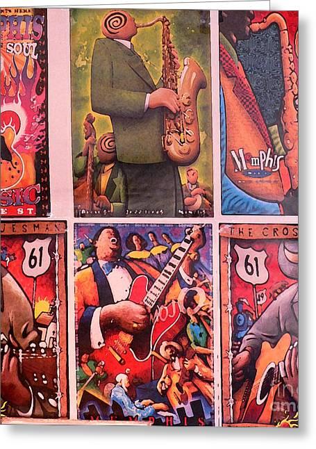 Beale Street Greeting Cards - Walkin with my feet ten feet off of Beale Greeting Card by David Bearden