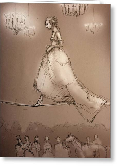 Candelabrum Greeting Cards - Walking a Fine Line Greeting Card by H James Hoff