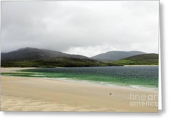 Losgaintir Greeting Cards - Walking along the beach at Luskentyre Isle of Harris Outer Hebrides Scotland Greeting Card by David Lyons