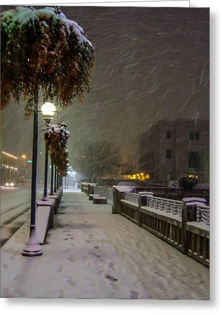 Streetlight Greeting Cards - Walking Around Reno On A Snowy Night Greeting Card by Marc Crumpler
