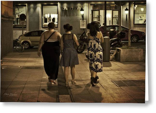 Parked Cars Greeting Cards - Walking at Night - Madrid Spain Greeting Card by Mary Machare