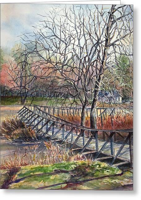 Walking Bridge Greeting Card by Janet Felts