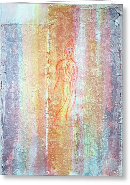Buddha Sketch Greeting Cards - Walking Buddha Greeting Card by Asha Carolyn Young