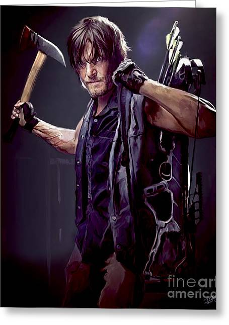 Printed Greeting Cards - Walking Dead - Daryl Dixon Greeting Card by Paul Tagliamonte