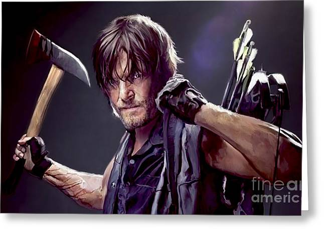 Portrait Artwork Greeting Cards - Walking Dead - Daryl Greeting Card by Paul Tagliamonte