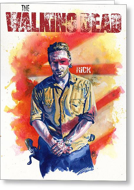 Horror Greeting Cards - Walking Dead Rick Greeting Card by Ken Meyer jr