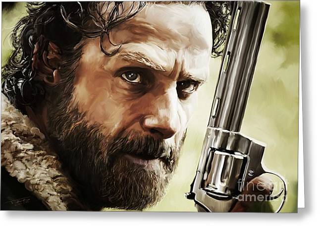 Portrait Artwork Greeting Cards - Walking Dead - Rick Greeting Card by Paul Tagliamonte
