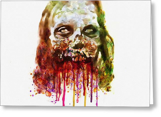 Living Dead Greeting Cards - Walking Dead Zombie watercolor Greeting Card by Marian Voicu