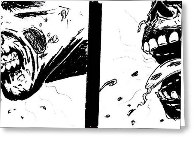 Pen And Ink Drawing Greeting Cards - Walking Dead Zombies Greeting Card by Justin Moore