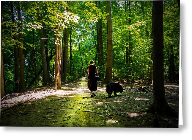 Cobbs Hill Greeting Cards - Walking dog in the park Greeting Card by Tim Buisman