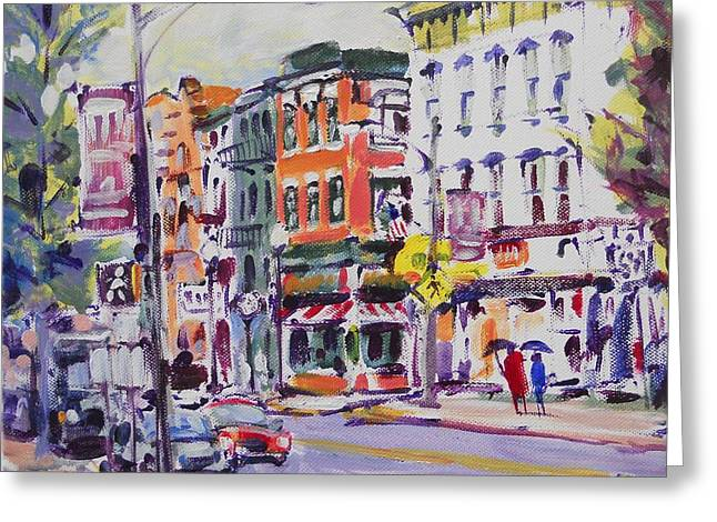 Town Square Drawings Greeting Cards - Walking Down West Main Street Greeting Card by Larry Lerew