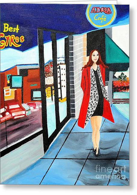 Store Fronts Greeting Cards - Walking downtown Greeting Card by Art by Danielle