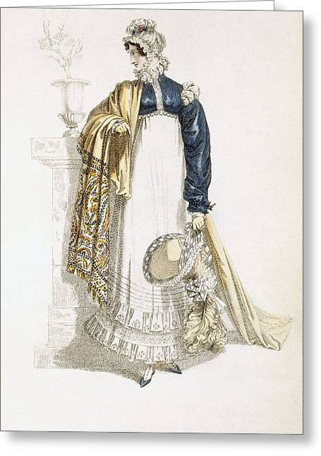 Sleeve Greeting Cards - Walking Dress, Fashion Plate Greeting Card by English School