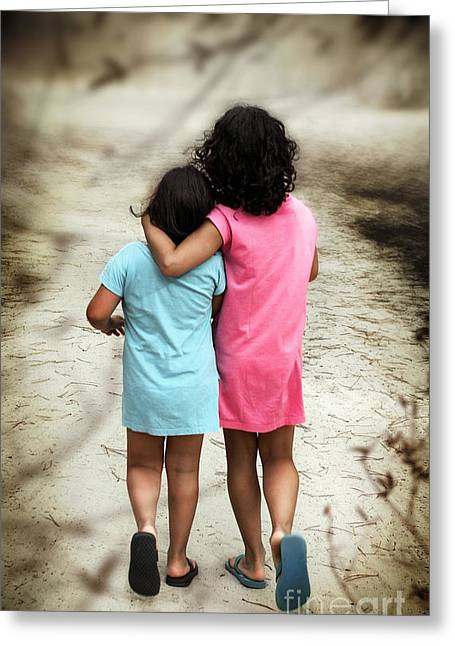 Pink Road Greeting Cards - Walking Girls Greeting Card by Carlos Caetano