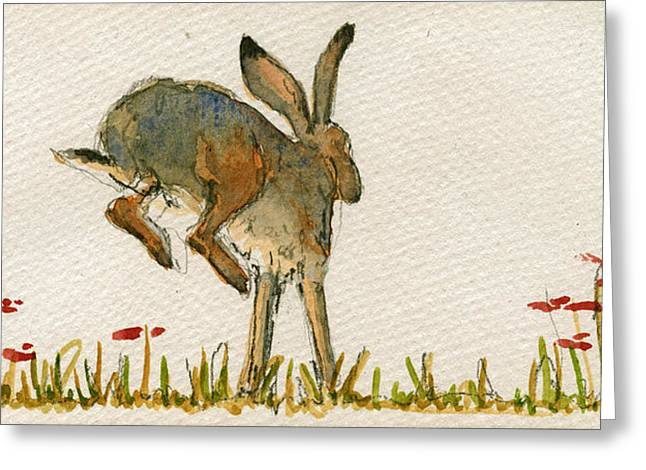 Walking Hare Greeting Card by Juan  Bosco