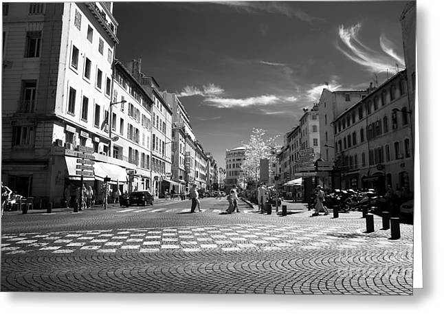 D.w Greeting Cards - Walking in Marseille Greeting Card by John Rizzuto