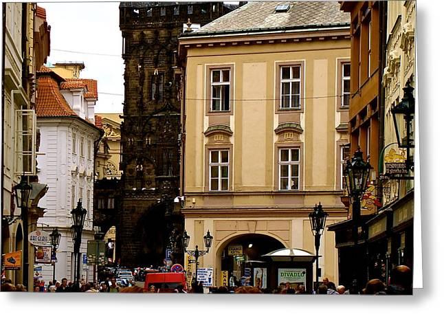Powder Greeting Cards - Walking In Prague Greeting Card by Ira Shander