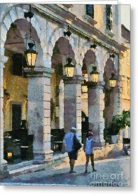 Tradition Greeting Cards - Spianada square in Corfu city Greeting Card by George Atsametakis