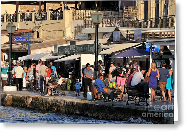 People Greeting Cards - Walking in the old port of Chania Greeting Card by George Atsametakis