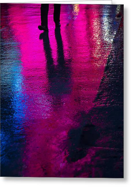 Raining Greeting Cards - Walking in the rain Greeting Card by Garry Gay