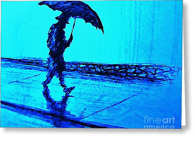 Johnmaloneartist.com Greeting Cards - Walking in the Rain Greeting Card by John Malone