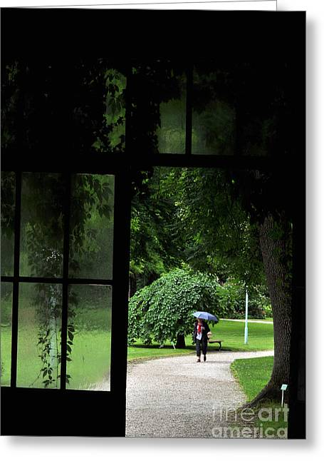 Glass Wall Greeting Cards - Walking in the rain Greeting Card by Simona Ghidini