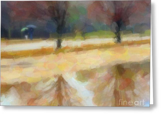 Autumn Trees Greeting Cards - Walking in the Rain Greeting Card by Terri Gostola