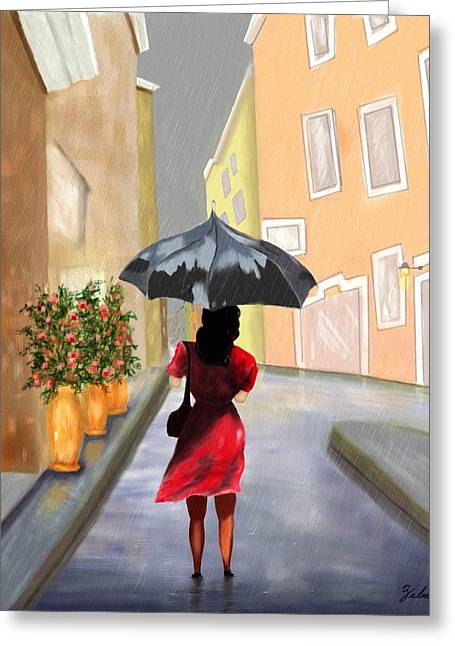 Zelma Hensel Greeting Cards - Walking in the Rain Greeting Card by Zelma Hensel