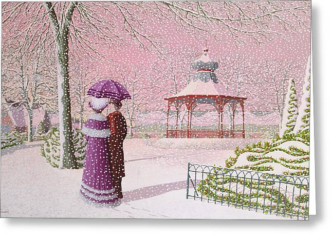 Bandstand Greeting Cards - Walking In The Snow Greeting Card by Peter Szumowski