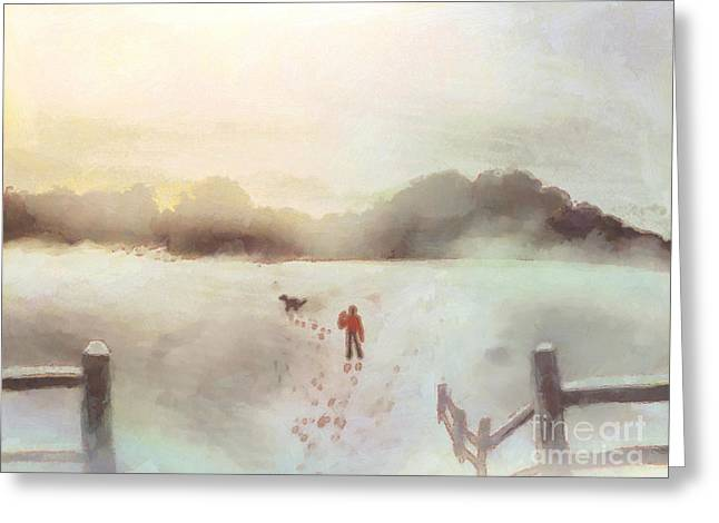 Fence Drawings Greeting Cards - Dog walking in Winter Greeting Card by Pixel Chimp
