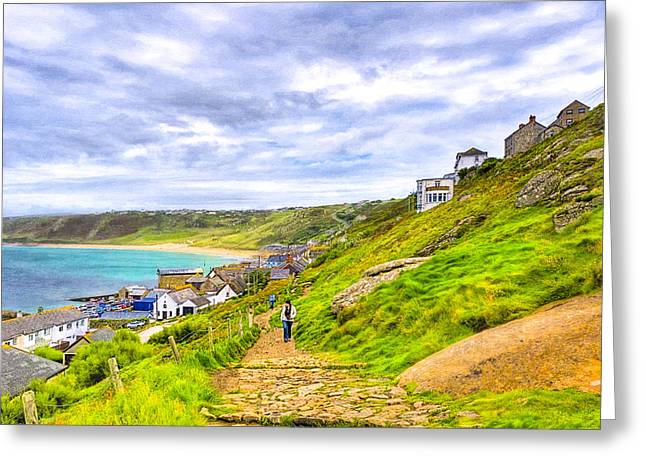 Walking Into Sennen Cove On The Cornish Coast Greeting Card by Mark E Tisdale