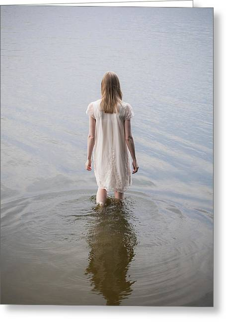 Lonelyness Greeting Cards - Walking into water Greeting Card by Maria Heyens