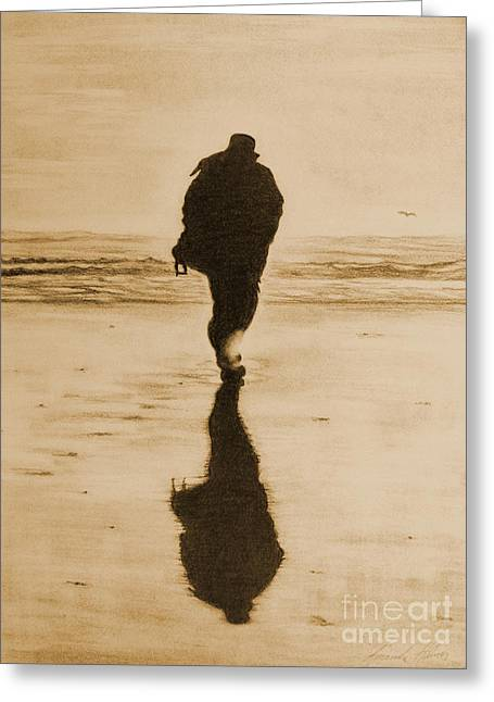 Sun On The Beach Drawings Greeting Cards - Walking into Winters Sun -sepia version Greeting Card by Amanda Lee Tzafrir