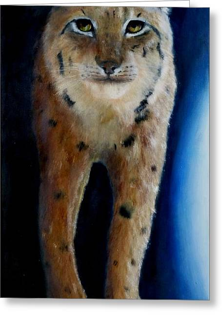 Lumiere Greeting Cards - Walking Lynx Greeting Card by Magali Gauthier