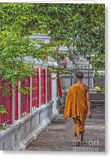 Neophyte Greeting Cards - Walking Monk Greeting Card by Antony McAulay