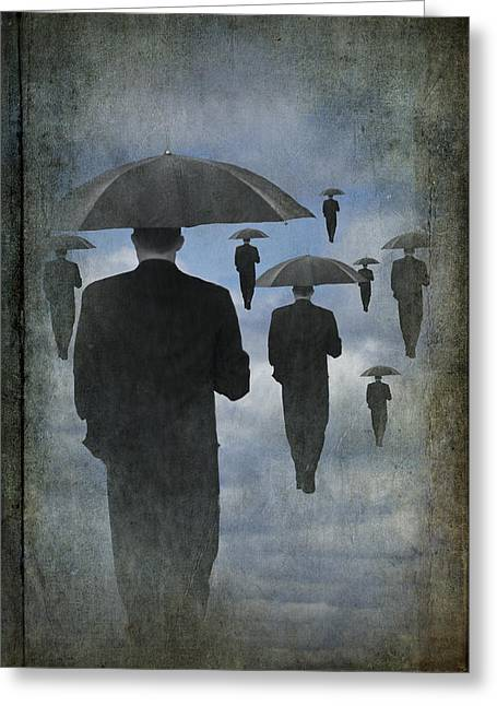 Man Dressed In Black Greeting Cards - Walking on Air in a Cloudy Blue Sky Greeting Card by Randall Nyhof