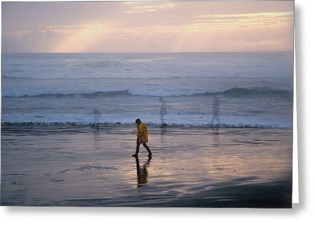Ghostly Greeting Cards - Walking on Cox Bay Greeting Card by Lyn  Perry