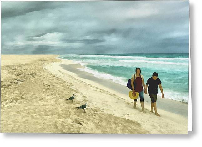 On The Beach Digital Greeting Cards - Walking on the Beach Greeting Card by Ann Powell