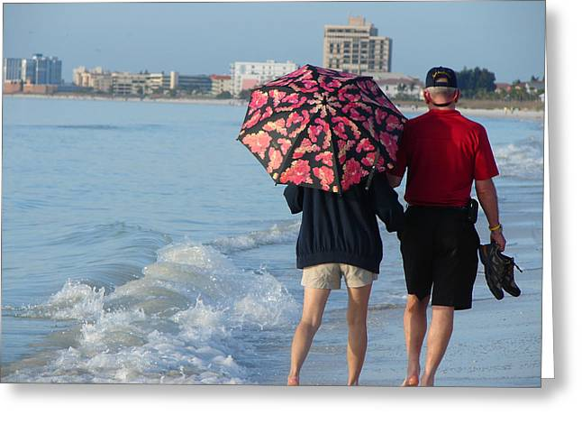 St Petersburg Florida Greeting Cards - Walking on the Beach Greeting Card by Sharon Rodriguez