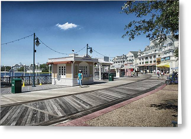 Cinderella Photographs Greeting Cards - Walking On The Boardwalk At Disney World Greeting Card by Thomas Woolworth
