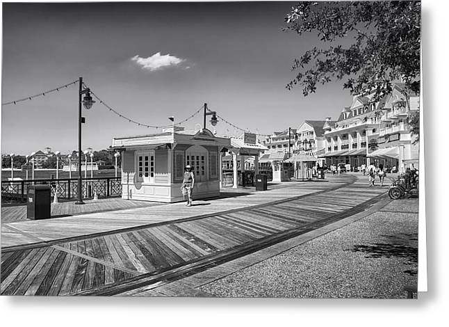 Cinderella Photographs Greeting Cards - Walking on the boardwalk in Black and White Walt Disney World Greeting Card by Thomas Woolworth