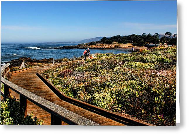Cambria Greeting Cards - Walking on the Boardwalk Greeting Card by Judy Vincent