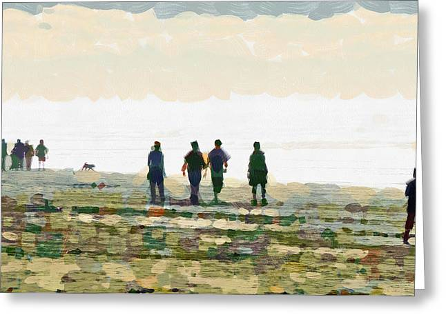 Dog Walking Greeting Cards - Walking on the Firm Sand  Greeting Card by Steve Taylor
