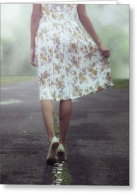 Delapidated Greeting Cards - Walking On The Street Greeting Card by Joana Kruse