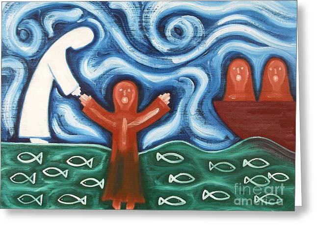 Fish Christian Art Prints Greeting Cards - Walking On Water 2 Greeting Card by Patrick J Murphy